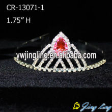 Cheap PriceList for Wedding Tiaras and Crowns Pink Rhinestone Bridal Wedding Tiaras Pageant Crown export to Belarus Factory