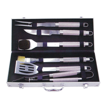 6pcs stainless steel BBQ set with aluminum box