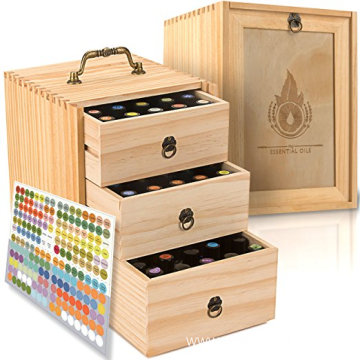 Professional for Wooden Organizer Box 75 Bottles Roller Balls 3 Tier Space Saver Wooden essential oil box Storage Case export to United States Minor Outlying Islands Wholesale