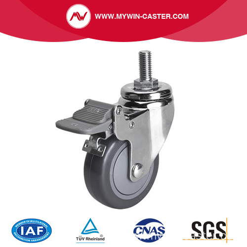 Chrome 3 inch 80Kg Threaded Brake PU Caster