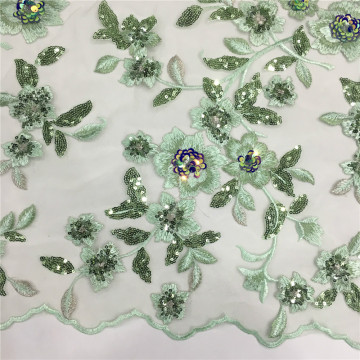 3D Flower Multicolor Sequins Embroidery Fabric
