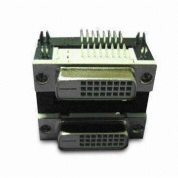 DVI 24+1 Female Dual Port Angle DIP Type