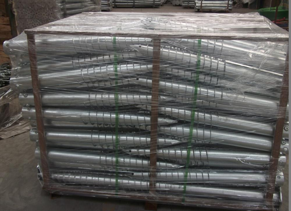Hot galvanized ground screw with three nuts