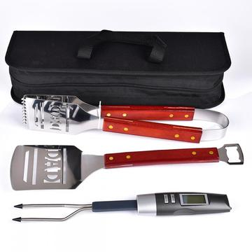 3PCs stainless steal wooden handle with black bag