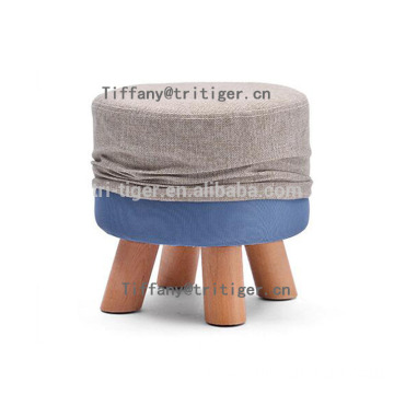 European-Style Ottoman Fabric Living Room Wooden shoes changing stool