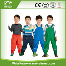Children Rain Pants Reflective PU Leather Bib Pants