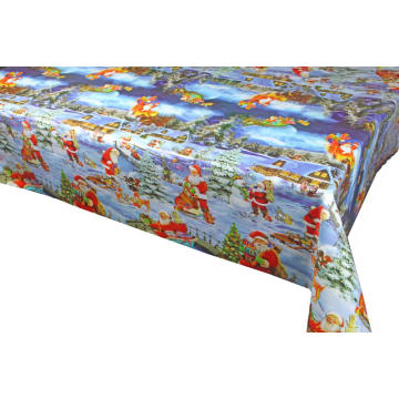 Christmas plastic tablecloth with non woven backing