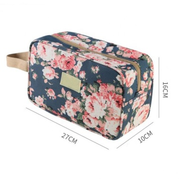 Atacado Moda Moda Floral Impresso Cotton Canvas Cosmetic Bag