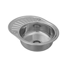 Kitchen Sink With Drainer Single Bowl Inset Round