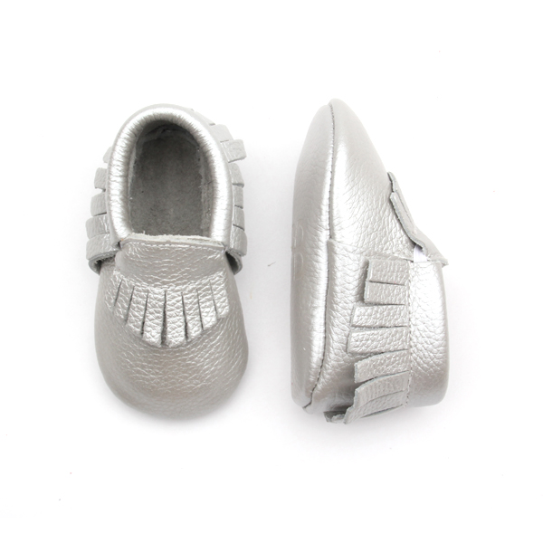 Genuine Leather Sliver Baby Moccasins Shoes
