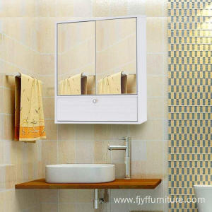High reputation for for Bathroom Cabinet White Bathroom Cabinet with 2 Doors and Mirror export to Spain Supplier
