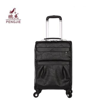 Embossed spinner wheels leather travel hand luggage trolley