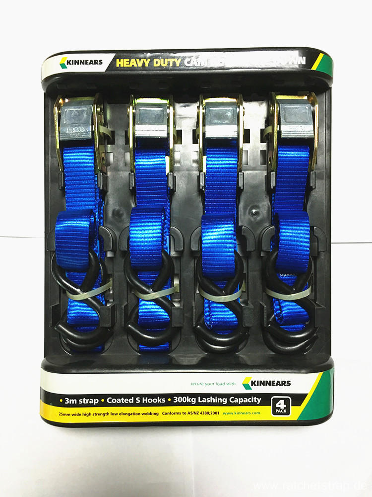 25mm Packaged Ratchet Tie Down Blue Lashing Strap with 680KGS