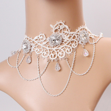 White lace Necklet Crystal tassel bride necklace