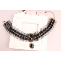 Vintage Rhinestone Ribbon Nets Yarn Necklet Necklace