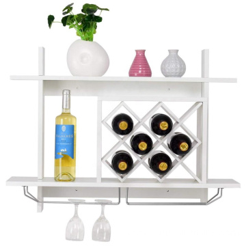 White wall mounted wooden display wine rack for home decoration
