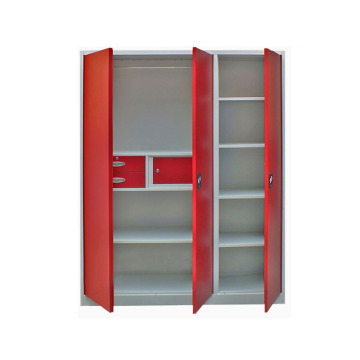 Swing Door Metal Wardrobe With Three Drawers