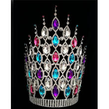 "Customized for Rhinestone Pageant Crowns 12"" Colored Chunky Rhinestone Crowns For Party export to Luxembourg Factory"