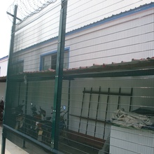 Powder Coated High Security Steel Fence With Razor Wire