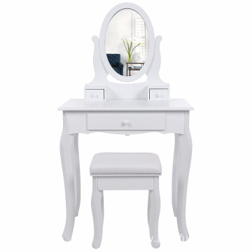 Wall-fixed Dressing Table with Stool and Mirror, 3 Drawers Vanity with 2 divider