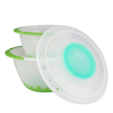 Plastic Mixing Bowl Set With Lid &Non-slip Bottom