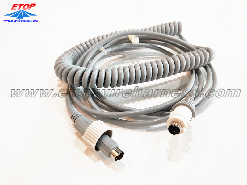 coiled cable with DIN connectors for medical machine