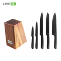 5pcs Kitchen Wood Knife Block Set