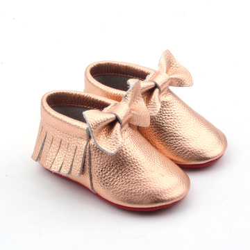 Soft Leather Baby Girl Moccasins with Bow