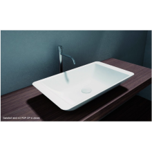 Counter top basin WB005 of mineral cast (Pure Acrylic)-matte white-585x340x120mm