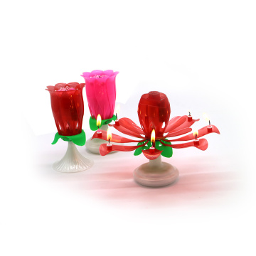 Rosa / Red Spinning Dubbellag Rose Musical Candle