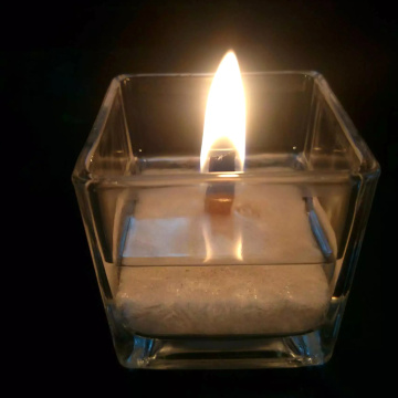 Snowflake Palm Wax Square Glass Wood Wick Candle