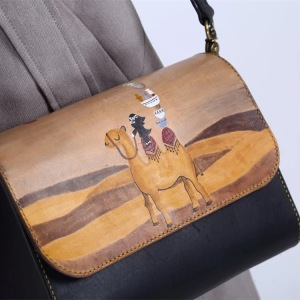 small square leather crossbody  bag national style