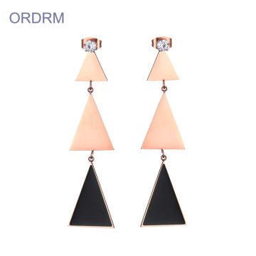 Elegant geometric triangle drop earrings