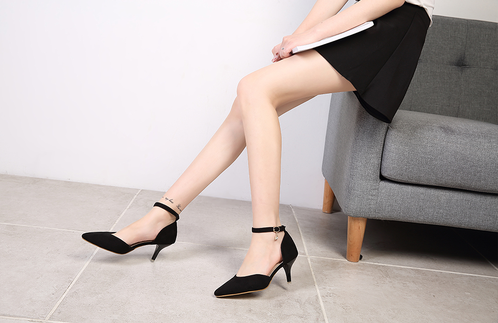 Suede Leather Heel Shoes