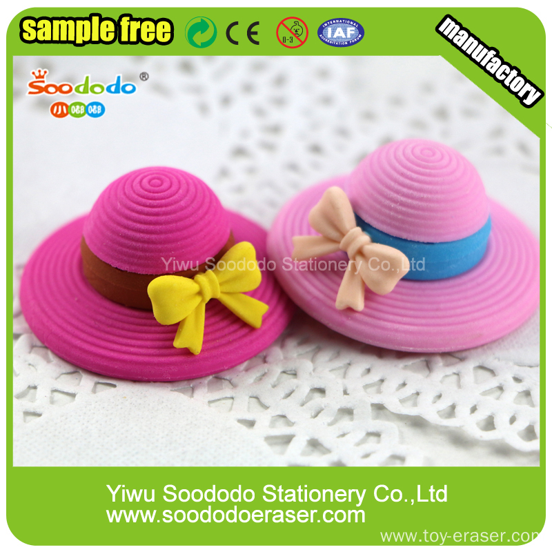 fashion sun hat eraser rubber ,fancy design for girls promotion
