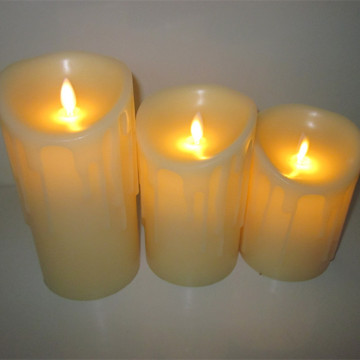 Real paraffin wax tears drop pillar Led candle for wedding party