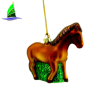 Christmas Glass Horse Ornaments