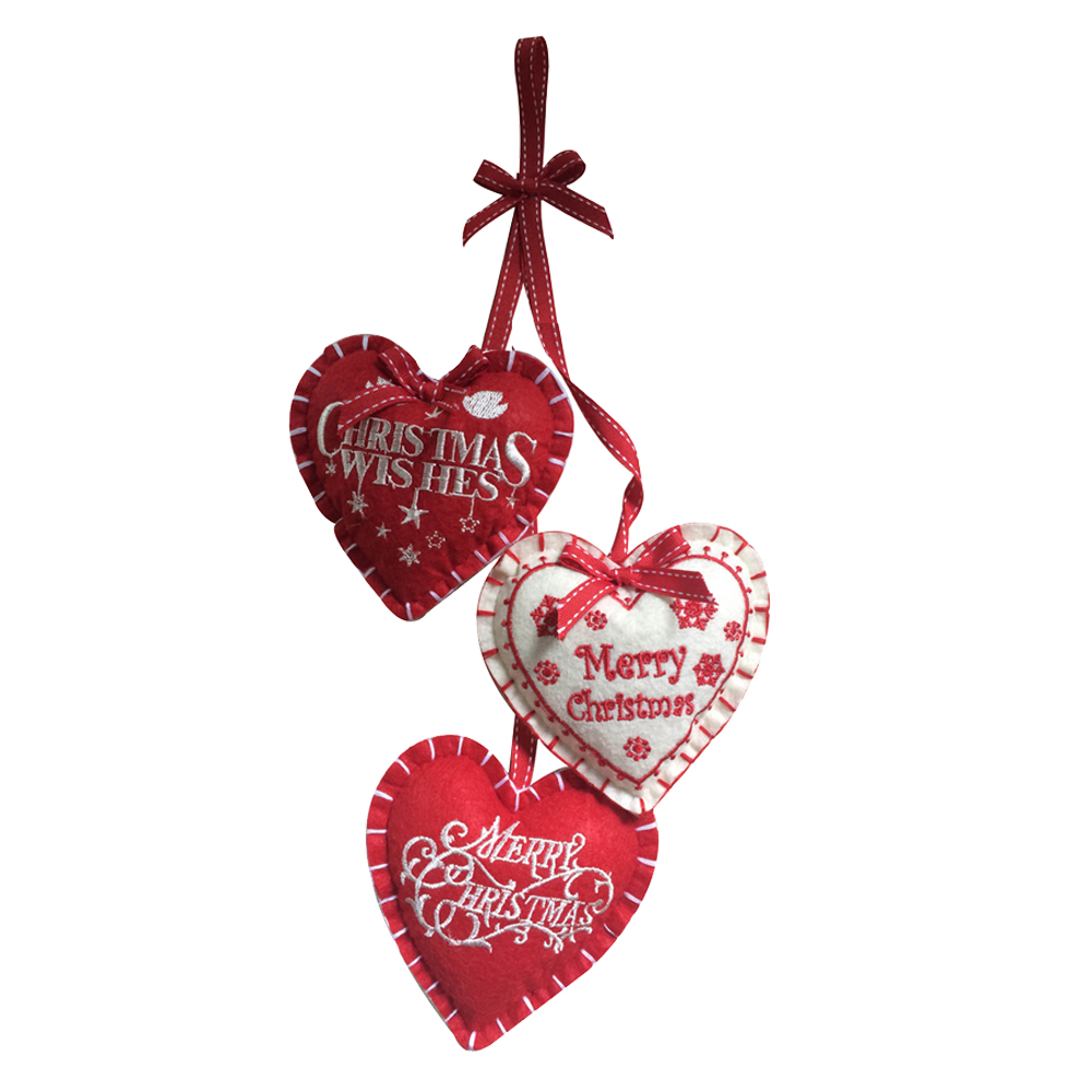 Christmas Heart Hanging Decorations Set