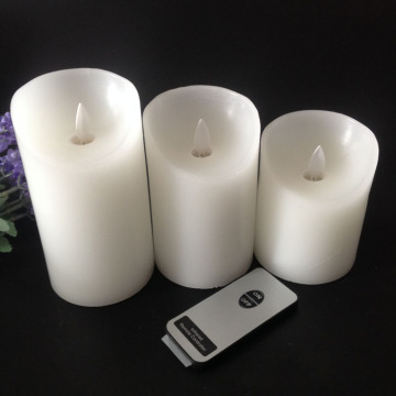 Real paraffin wax remote control led pillar candle for wedding decoration