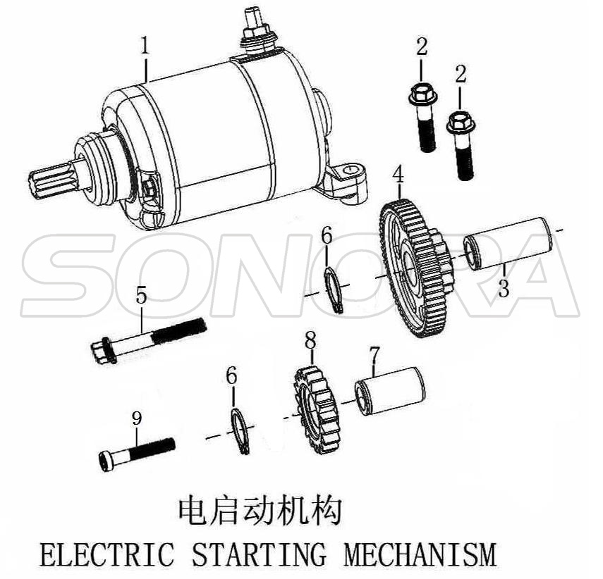 NC250 ELECTRIC STARTING MECHANISM