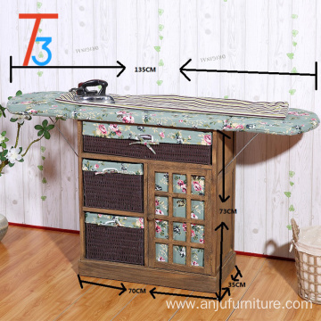 stand for clothes ironing board wood cabinet with storage basket drawer
