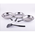 Three Sets Of Stainless Steel Pan Set