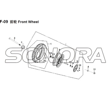 F-09 Front Wheel XS150T-8 CROX For SYM Spare Part Top Quality