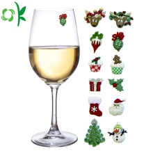 Christmas Holiday Silicone Magnetic Cocktail Glass Markers