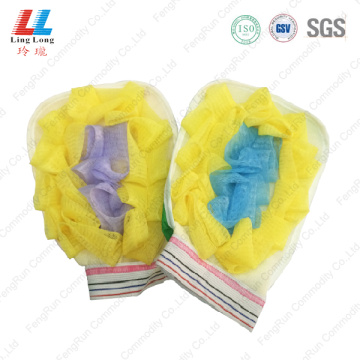 Microfiber gloves shower mesh sponge