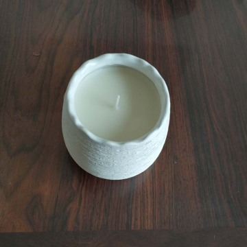 custom scent and logo soy candle in white ceramic jar