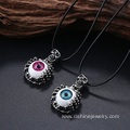 Cord Item Skull Pendant With Eye Charm Mens Leather Necklace