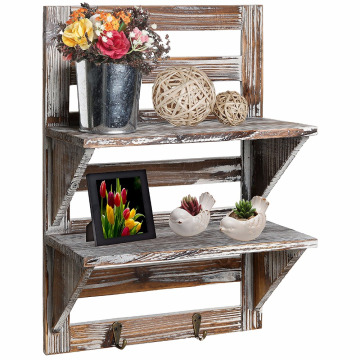 Rustic Wood Wall Mounted Organizer Shelves 2-Tier Storage Rack Brown with 2 hooks