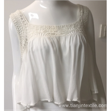solid viscose blouse with lace neck