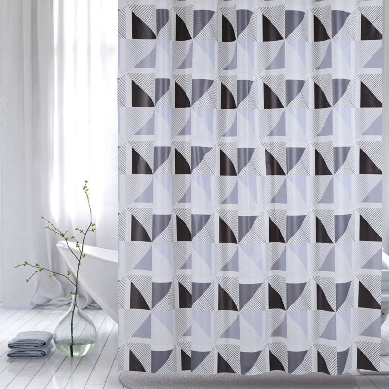 Shower Curtain PEVA  Grey Windmill
